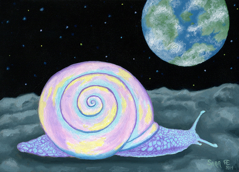Surreal oil painting of a snail with pastel coloured shell on rocky moon surface with a planet and starry space in the background