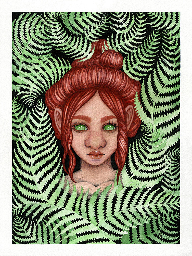 Watercolour and gouache painting of a troll woman with high reddish brown hair, surrounded by green fern