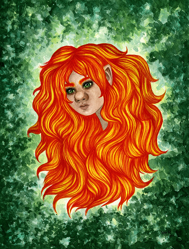 Watercolour painting of a troll girl with fiery red, orange and yellow hair, surrounded by greenery