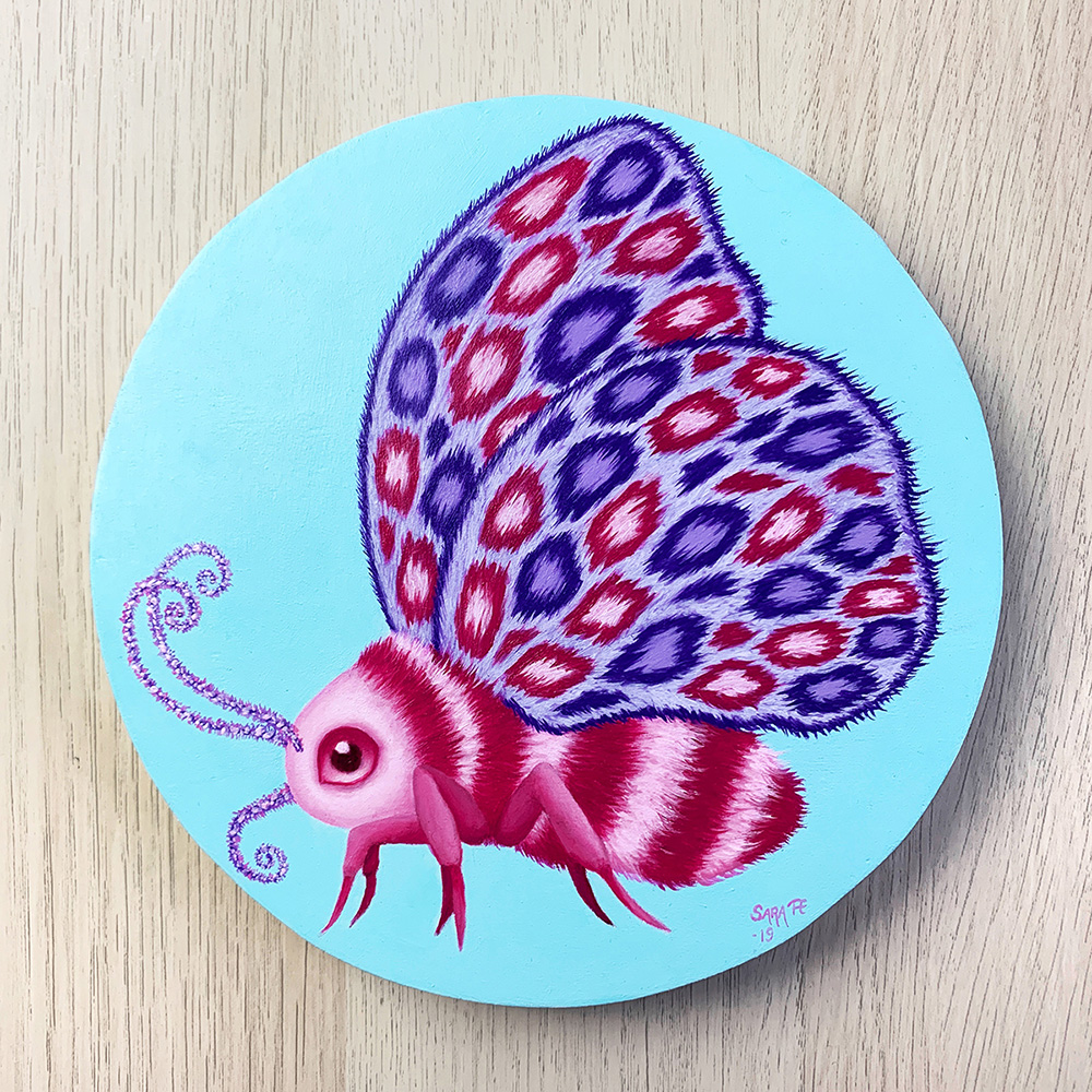 Pop surreal oil painting of a moth with stripes of dark and light pink, and wings with leopard spots in pink and purple