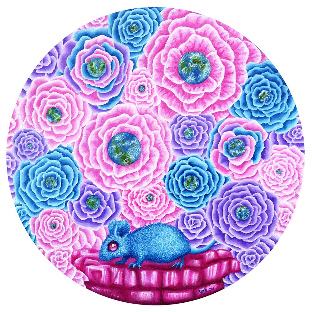 Surreal oil painting picturing a blue mouse on pink rocks, surrounded by pink, purple and blue flowers with planets in the middle