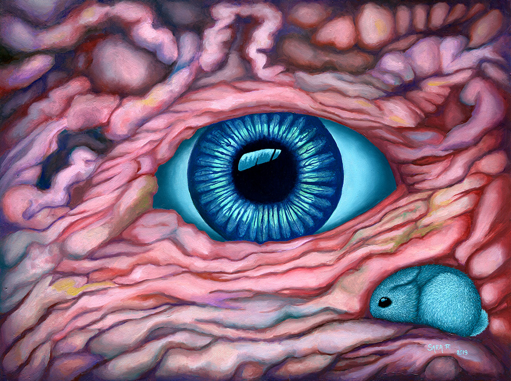 Surreal oil painting picturing a blue eye and a blue rabbit, surrounded by fleshy structures