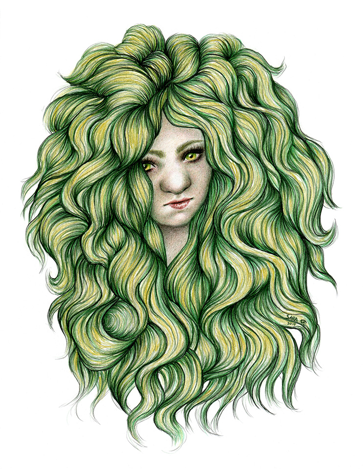 Colour pencil drawing of a Swedish troll girl with green and yellow curly hair